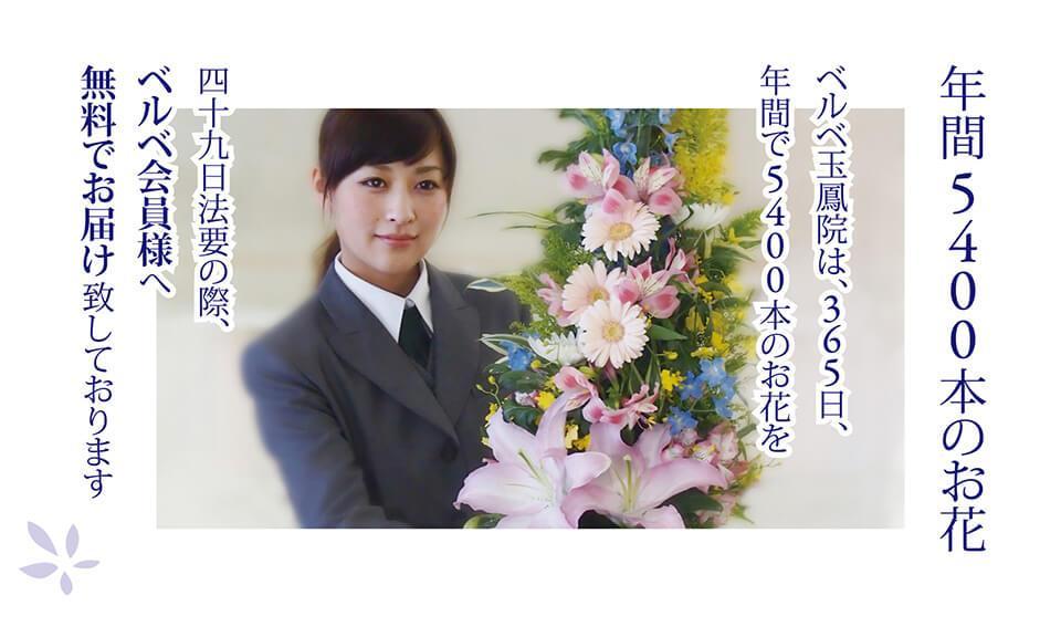 年間5400本のお花 ベルベ玉鳳院は、365日、年間で5400本のお花を四十九日法 要の際、ベルベ会員様へ無料でお届け致しております