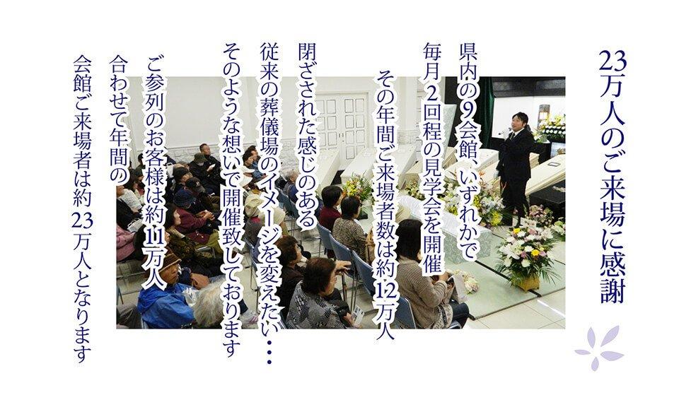 23万人のご来場に感謝 県内の9会館、いずれかで毎月2回程の見学会を開催その年間ご来場数は約12万人 閉ざされた感じのある従来の葬儀場のイメージを変えたい・・・そのような想いで開催致しております お参列のお客様は約11万人 合わせて年間の会場ご来場者は約23万人となります